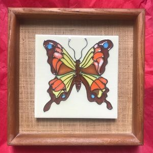 1970s Butterfly on ceramic tile in a wooden frame